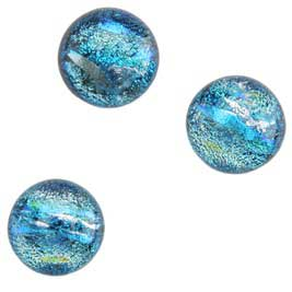 Dichroic Gems -Lite Blue Medium - 12mm to 16mm - 3 gems