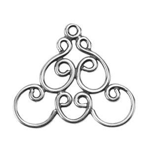 Silver Plate Connector - Filigree Triangle Connector