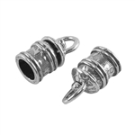 Sterling Silver End Caps - Swivel Floral 5mm Pkg - 2
