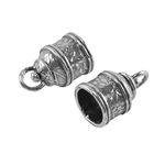 Sterling Silver End Caps - Swivel Floral 10mm Pkg - 2