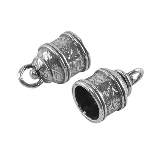 Sterling silver end caps swivel floral mm pkg