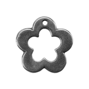 Silver Plate Charm - Flower