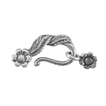 Silver Plate Hook & Eye Clasp - Leaf and Flower