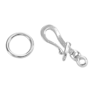 Silver Plate Hook & Eye Clasp - Locking - 1 Set