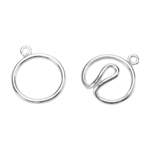 Silver Plate Hook & Eye Clasp - Wire Round