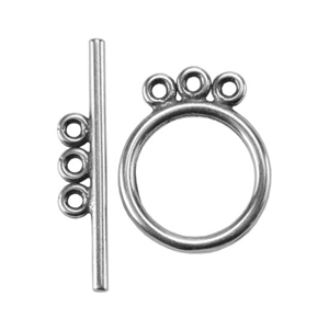 Silver Plate Toggle Clasp - 3 Strand Circle