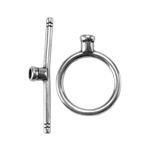 Silver Plate Toggle Clasp - Round Thin Medium