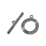 Silver Plate Mini Toggle Clasp - Textured Ring