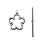 Silver Plate Toggle Clasp - Flower
