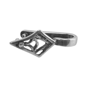 Silver Plate Pinch Bail - Tribal Diamond