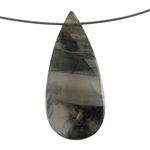 Natural Bloodstone Gemstone - Pear Pendant 29mm x 63mm Pkg - 1