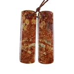 Natural Orbicular Jasper Gemstone - Rectangle Pendants 12x40mm - Matched Pair