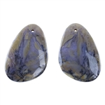 Amethyst Sage Chalcedony Gemstone - Pear Pendants 12mm x 46mm Matched Pair