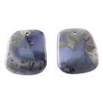 Amethyst Sage Chalcedony Gemstone - Pear Pendants 12mm x 45mm Matched Pair