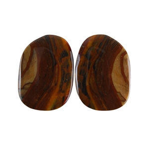 Royal Sahara Jasper Gemstone - Freeform Cabochon Pair 13x18mm - 1 Pair