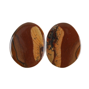 Royal Sahara Jasper Gemstone - Freeform Cabochon Pair 15x19mm - 1 Pair