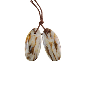 Natural Peanut Wood Gemstone - Pendant Oval 12x25mm - Matched Pair