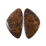 Natural Bronzite Gemstone - Cabochon Triangles 20x35mm - 1 Pair