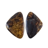Natural Bronzite Gemstone - Cabochon Triangles 19x28mm - 1 Pair