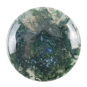 Natural Green Moss Agate Gemstone - Cabochon Round 35mm Pkg - 1
