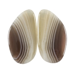 Natural Botswana Agate Gemstone - Cabochon Capsule 12mm x 34mm Matched Pair