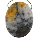 Pyrite in Quartz Gemstone - Oval Pendant 36mm x 46mm - Pak of 1