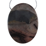 Pyrite in Quartz Gemstone - Oval Pendant 34mm x 45mm - Pak of 1