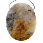 Pyrite in Quartz Gemstone - Oval Pendant 36mm x 45mm - Pak of 1