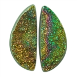 Russian Pyrite Gemstone - Half Round Cabochon 7mm x 17mm Matched Pair