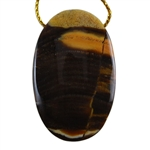 Natural Peanut Wood Gemstone - Pendant Oval 28mm x 44mm - Pak of 1