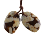 Natural Peanut Wood Gemstone - Pendant Freeform 14mm x 20mm - Matched Pair
