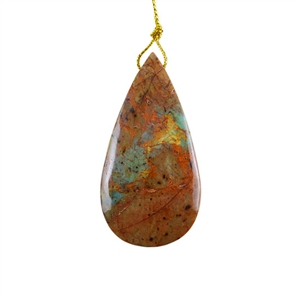 Natural African Green Opal Gemstone - Pendant Pear 31x61mm - Pak of 1