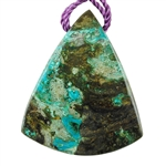 Shattuckite Gemstone - Shield Pendant 36mm x 43mm - Pkg of 1