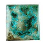 Natural Shattuckite Gemstone - Cabochon Rectangle 33mm x 35mm Pkg - 1