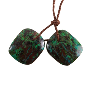 Parrot Wing Chrysocolla Gemstone - Freeform Pendant Pair 14mm x 17mm - Matched Pair
