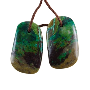 Parrot Wing Chrysocolla Gemstone - Freeform Pendant Pair 13mm x 21mm - Matched Pair