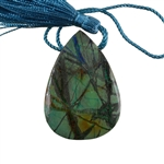 Natural Lightening Azurite Gemstone - Pear Pendant 35x50mm - Pak of 1