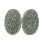 Druzy Quartz in Agate Gemstone - Oval Cabochon 9mm x 13mm Matched Pair