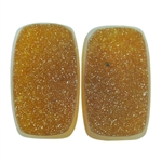 Druzy Quartz in Agate Gemstone - Rectangle Cabochon 11mm x 18mm Matched Pair