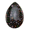 Glass Stone - Milliefori Black Pendant Pear 35mm x 51mm Pkg - 1