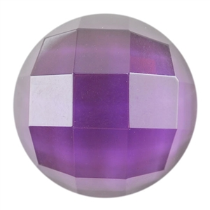 Glass - Amethyst - Cabochon Round 20mm - Checkerboard Top Pkg - 1
