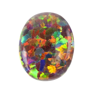 Imitation Red Opal Gemstone - Cabochon Oval 8mm x 10mm Pkg - 1