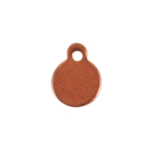 Copper Shape - Circle Pendant - 6 x 7.5mm