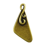 Antique Brass Plate Blank - Flourished Triangle Pendant - 10mm x 18mm