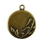 Antique Brass Plate Blank - Spring Round Pendant - 25mm