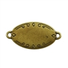 Antique Brass Plate Blank - Oval Connector - 28.5mm x 17.5mm