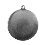 Antique Silver Plate Shape - Round Connector - 25mm