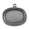 Antique Silver Plate Shape - Framed Oval Pendant - 20mm x 26mm