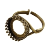 Antique Brass Gallery Setting Adjustable Crimp Ring - Round 14.5mm