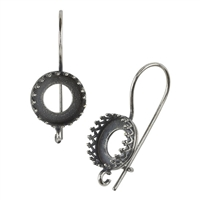 Antique Silver Plate French Earwires - Bezel Gallery Setting with Loop - 10.5mm 1 Pair